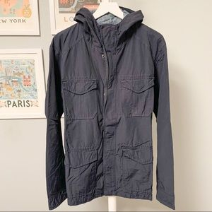 Gap Raincoat Jacket with Hood, Blue, L